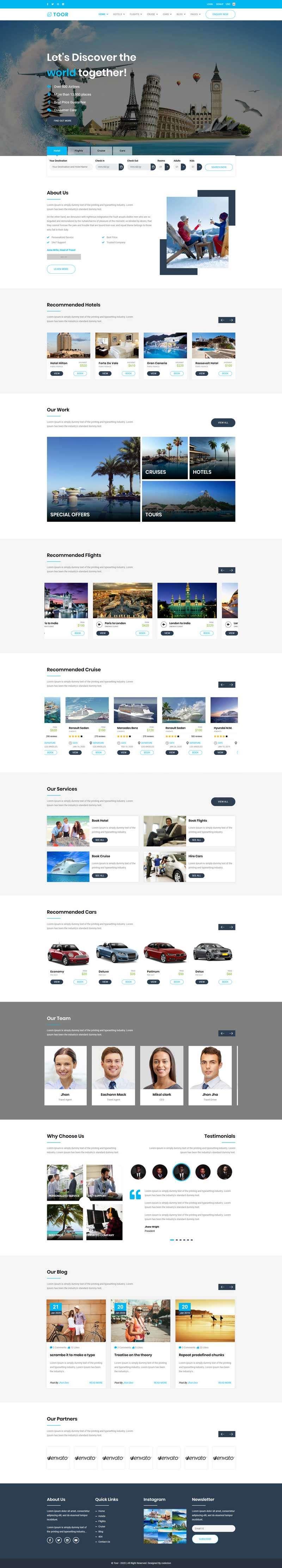 酒店旅游团预订网站HTML5模板