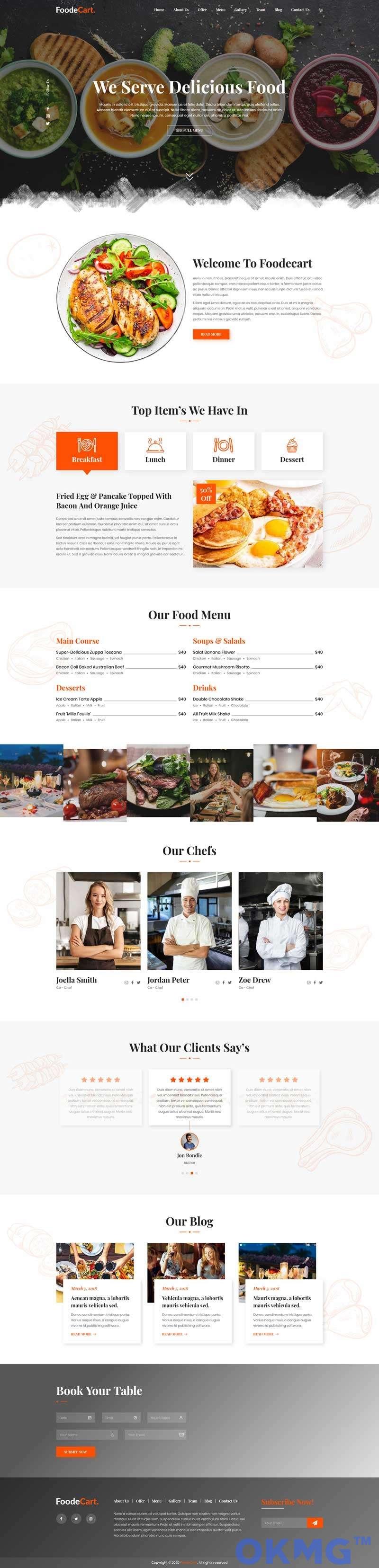 响应式餐厅美食主页HTML模板