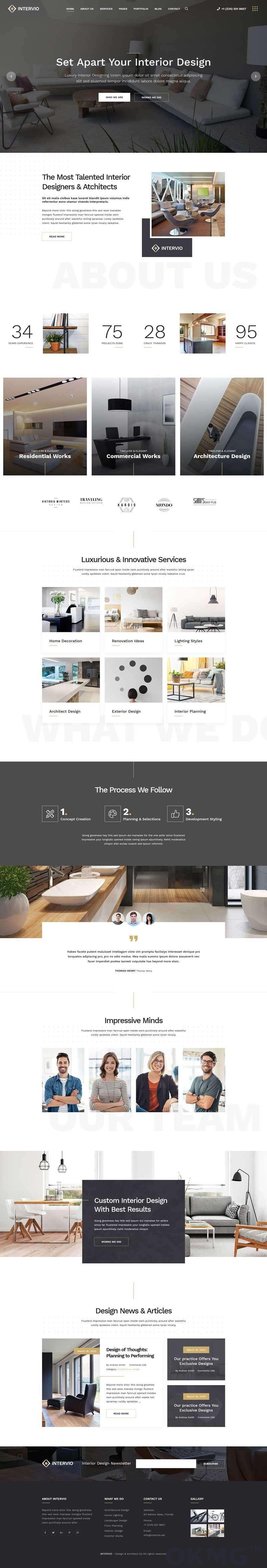 大气的建筑/室内设计官网HTML5模板