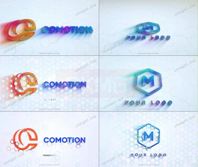 优雅彩色玻璃质感的标志演绎开场AE模板