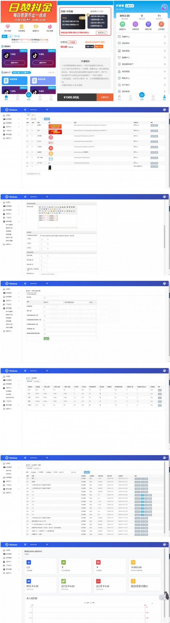 最新在运营的抖音快手点赞任务系统兼职源码+已对接短信+教程