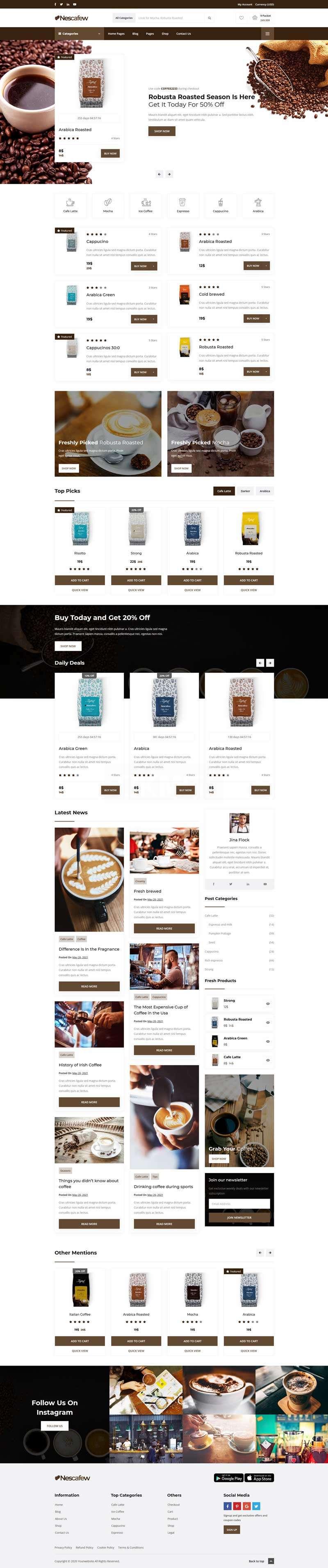 咖啡店铺电商网站HTML模板