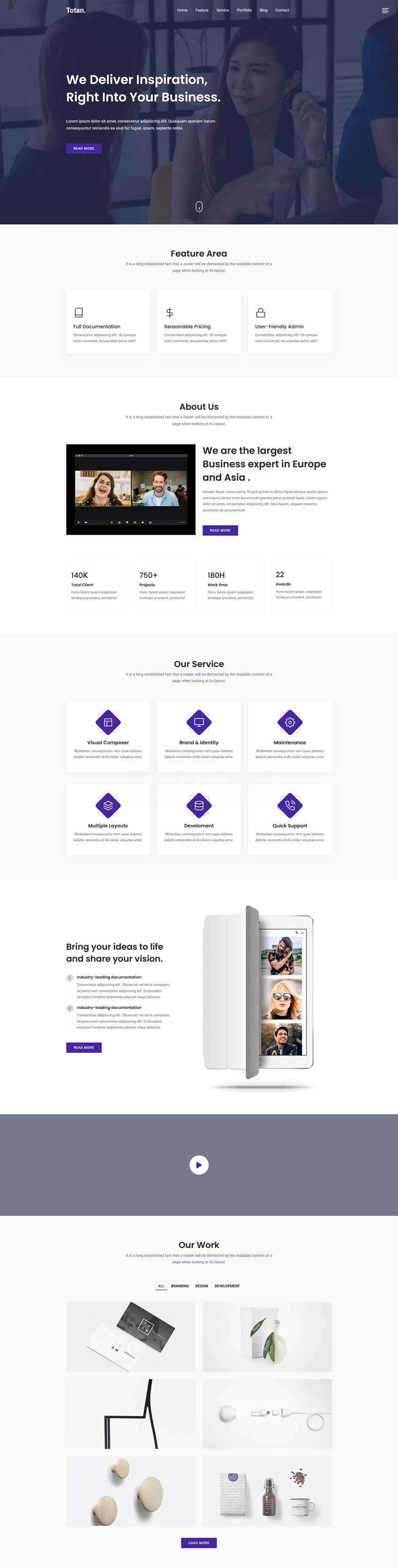 商业初创公司网站单页模板
