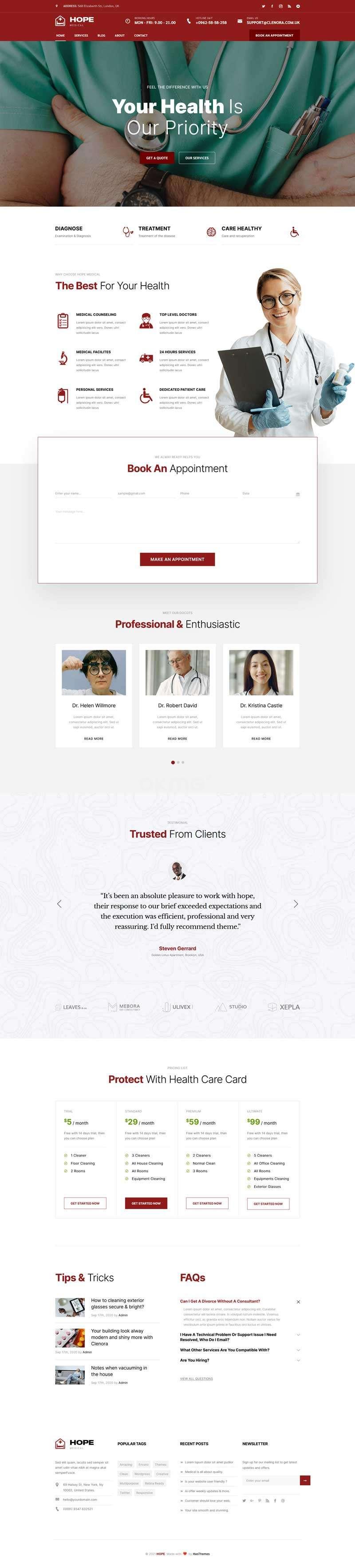 牙科医疗服务网站HTML5模板