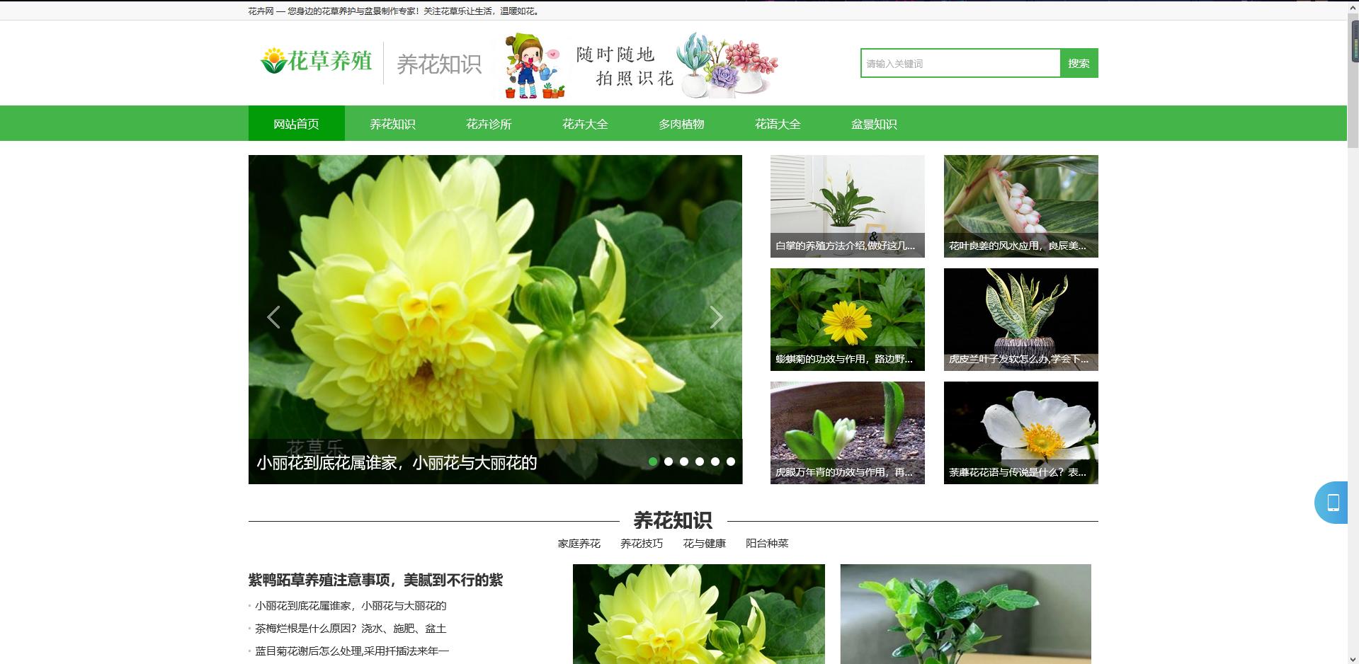 (带手机版数据同步)花卉养殖新闻资讯类织梦模板 绿色花草植物网站模板下载