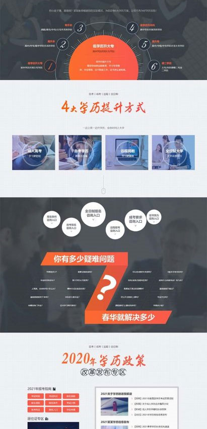 织梦营销型成人高考自考百度竞价推广落地页单页模板 带手机版